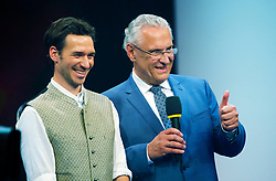 """13.07.2019, BMW Welt, Muenchen, GER, Bayerischer Sportpreis Verleihung, im Bild Staatsminister Herrmann hebt den Daumen, Felix Neureuther erhält den """"Persönlichen Preis des Ministerpräsidenten"""" // during the Bavarian Sports Award at the BMW Welt in Muenchen, Germany on 2019/07/13. EXPA Pictures © 2019, PhotoCredit: EXPA/ SM<br /> <br /> *****ATTENTION - OUT of GER*****"""