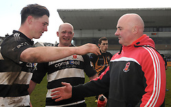 Ballinrobe&rsquo;s manager Seamus O&rsquo;Toole celebrates with his son Jack after their win in Connacht junior plate at the Sportsground in Galway. <br /> Pic Conor McKeown