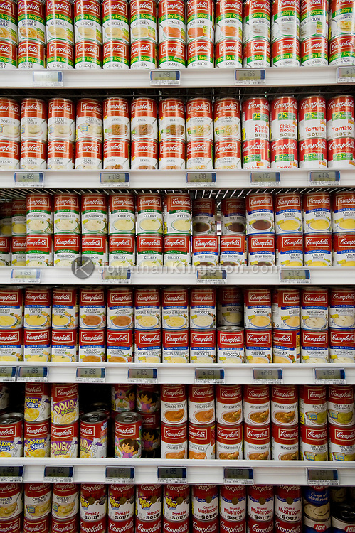 Rows of canned soup, the price of which has gone up significantly, in Bend, Oregon.