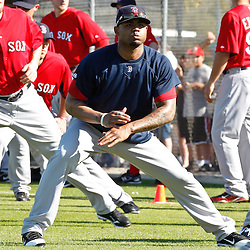 February 19, 2011; Fort Myers, FL, USA; Boston Red Sox left fielder Carl Crawford (center) stretches with teammates during spring training at the Player Development Complex.  Mandatory Credit: Derick E. Hingle