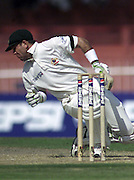 Australian captain Ricky Ponting gets a blow during the Sharjah Cup.