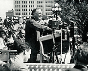 The New Deal: Franklin Delano Roosevelt (1882-1945) 32nd President of the USA at Topeka, on the 1932 campaign trail, addressing American farmers and telling them that the New Deal would work for them too.