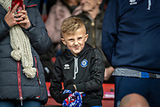 A young Rochdale AFC fan before the EFL Sky Bet League 1 match between Rochdale and Wycombe Wanderers at the Crown Oil Arena, Rochdale, England on 28 September 2019.