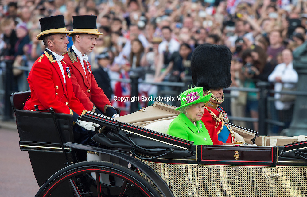 LONDON - UK - 11th June 2016: Members of the British royal family join HM Queen Elizabeth II and HRH The Duke of Edinburgh for the annual Trooping The Colour ceremony in London.<br /> The Queen joined by many members of the family including HRH The Prince of Wales, with HRH The Duchess of Cornwall, The Duke and Duchess of Cambridge, Prince Harry, Prince Edward and HRH The Countess of Wessex, Prince Andrew, Princess Beatrice and Princess Eugenie.<br /> <br /> &copy;Ian Jones/Exclusivepix Media