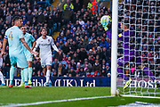 Leeds United forward Patrick Bamford (9) shot is saved by Queens Park Rangers goalkeeper Liam Kelly (32) during the EFL Sky Bet Championship match between Leeds United and Queens Park Rangers at Elland Road, Leeds, England on 2 November 2019.