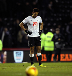 Nick Blackman of Derby County looks down at the full time whistle after his side are beaten 0-3 - Mandatory byline: Robbie Stephenson/JMP - 16/01/2016 - FOOTBALL - iPro Stadium - Derby, England - Derby County v Birmingham City - Sky Bet Championship