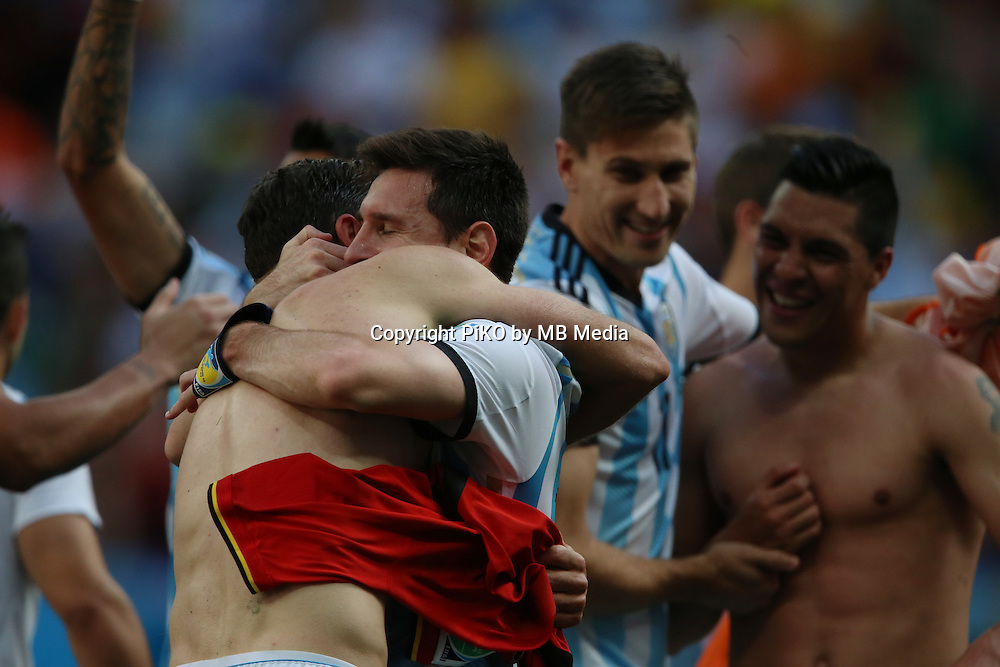 Fifa Soccer World Cup - Brazil 2014 - <br /> ARGENTINA (ARG) Vs. BELGIUM (BEL) - Quarter-finals - Estadio Nacional Brasilia -- Brazil (BRA) - 05 July 2014 <br /> Here Argentine players celebrating afar win the match.<br /> Here Lionel Messi<br /> &copy; PikoPress