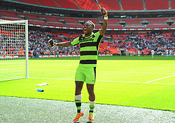 Drissa Traore of Forest Green Rovers celebrates at the full time whistle  - Mandatory by-line: Nizaam Jones/JMP - 14/05/2017 - FOOTBALL - Wembley Stadium- London, England - Forest Green Rovers v Tranmere Rovers - Vanarama National League Final