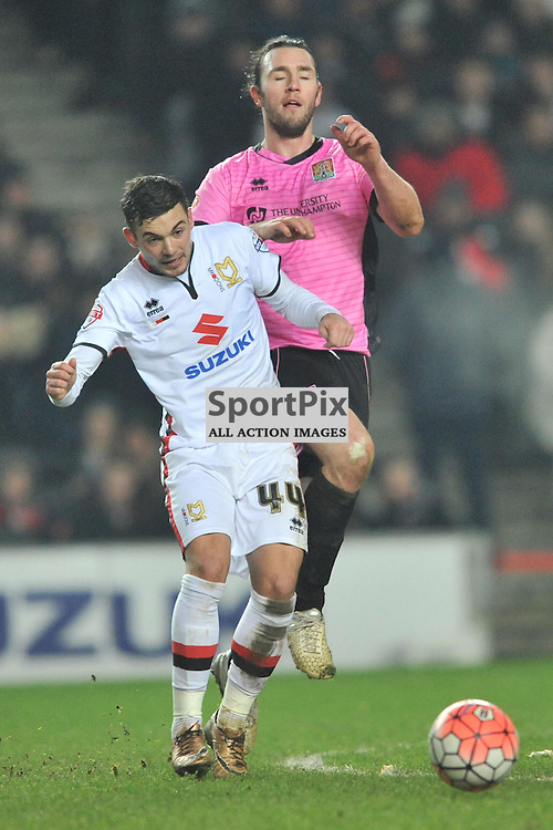 JAKE FORSTER CASKEY  MK DONS BATTLES WITH NORTHAMPTONS JOHN JOE O'TOOLE,  MK Dons v Northampton Town, FA Cup Emirates FA Cup Third round Repay, Stadium MK, Tuesday 19th January 2016