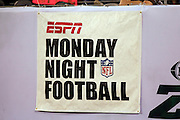 An ESPN Monday Night Football banner hangs on the sideline wall at the New York Jets NFL regular season week 1 football game against the Baltimore Ravens on Monday, September 13, 2010 in East Rutherford, New Jersey. The Ravens won the game 10-9. ©Paul Anthony Spinelli