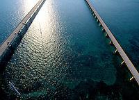 Aerial of Seven Mile Bridge, the Keys Florida
