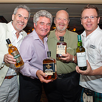 Chief Irish Whiskey Ambassdor and Founder of Kilbeggan Kleran Folliard, Master Ambassador Canadian Whiskey Dan Tullio of Canadian Club, 7th Generation Beam Master Distiller and Jim Beam's Great Grandson Fred Noe of Beam and Master Ambassador Scotch Whiskey Simon Brooking of Laphroaig at The Great Whisk[E]y Debate on Thursday July 18, 2013 at the Bourbon House Restaurant on Bourbon Street in New Orleans. ©2013, Gustavo Escanelle, All Rights Reserved.