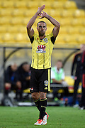 Manny Muscat of the Phoenix waves to fans during the A-League - Wellington Phoenix v Western Sydney football match at Westpac Stadium in Wellington on Sunday the 10 April 2016. Copyright Photo by Marty Melville / www.Photosport.nz