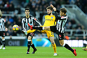 Davy Propper (#24) of Brighton & Hove Albion stretches to win the ball ahead of Dwight Gayle (#9) of Newcastle United during the Premier League match between Newcastle United and Brighton and Hove Albion at St. James's Park, Newcastle, England on 30 December 2017. Photo by Craig Doyle.