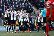 Notts County forward Jonathan Stead (30) celebrates his goal with his teammates (score 2-3) during the EFL Sky Bet League 2 match between Leyton Orient and Notts County at the Matchroom Stadium, London, England on 18 February 2017. Photo by Andy Walter.