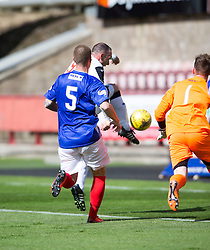 Dunfermline&rsquo;s Michael Moffat scoring their third goal. <br /> Half time : Dunfermline 4 v 0 Cowdenbeath, SPFL Ladbrokes League Division One game played 15/8/2015 at East End Park.