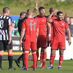 TELFORD COPYRIGHT MIKE SHERIDAN 6/4/2019 - RED CARD. Ellis Deeney of AFC Telford reacts with disbelief after being sent off during the Vanarama Conference North fixture between Chorley FC and AFC Telford United at Victory Park