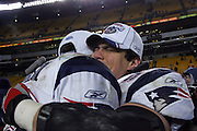 PITTSBURGH - JANUARY 23:  Linebacker Mike Vrabel #50 of the New England Patriots celebrates the big win over the Pittsburgh Steelers in the AFC Championship game at Heinz Field on January 23, 2005 in Pittsburgh, Pennsylvania. The Pats defeated the Steelers 41-27. ©Paul Anthony Spinelli  *** Local Caption *** Mike Vrabel
