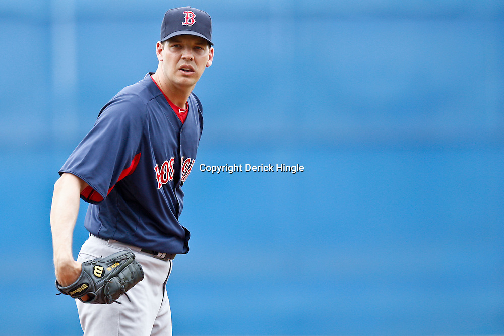 March 6, 2011; Port St. Lucie, FL, USA; Boston Red Sox pitcher Rich Hill (53) during a spring training exhibition game against the New York Mets at Digital Domain Park. The Mets defeated the Red Sox 6-5.  Mandatory Credit: Derick E. Hingle
