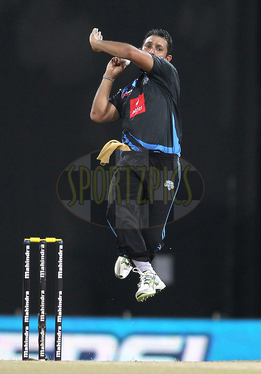 Azhar Mahmood of Wayamba United sends down a delivery during the first Semi Final Match of the Sri Lankan Premier League between Uva Next and Wayamba United held at the Premadasa Stadium in Colombo, Sri Lanka on the 28th August 2012. .Photo by Shaun Roy/SPORTZPICS/SLPL