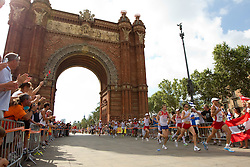 Dmitrij Safronov  of Russia, Gunther Weidlinger of Austria and Viktor Rothlin of Switzerland compete in the Mens Marathon at Arc de Triomf during day six of the 20th European Athletics Championships at the roads of city Barcelona on August 1, 2010 in Barcelona, Spain. (Photo by Vid Ponikvar / Sportida)