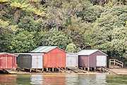 Boat sheds at Stewart Island, New Zealand