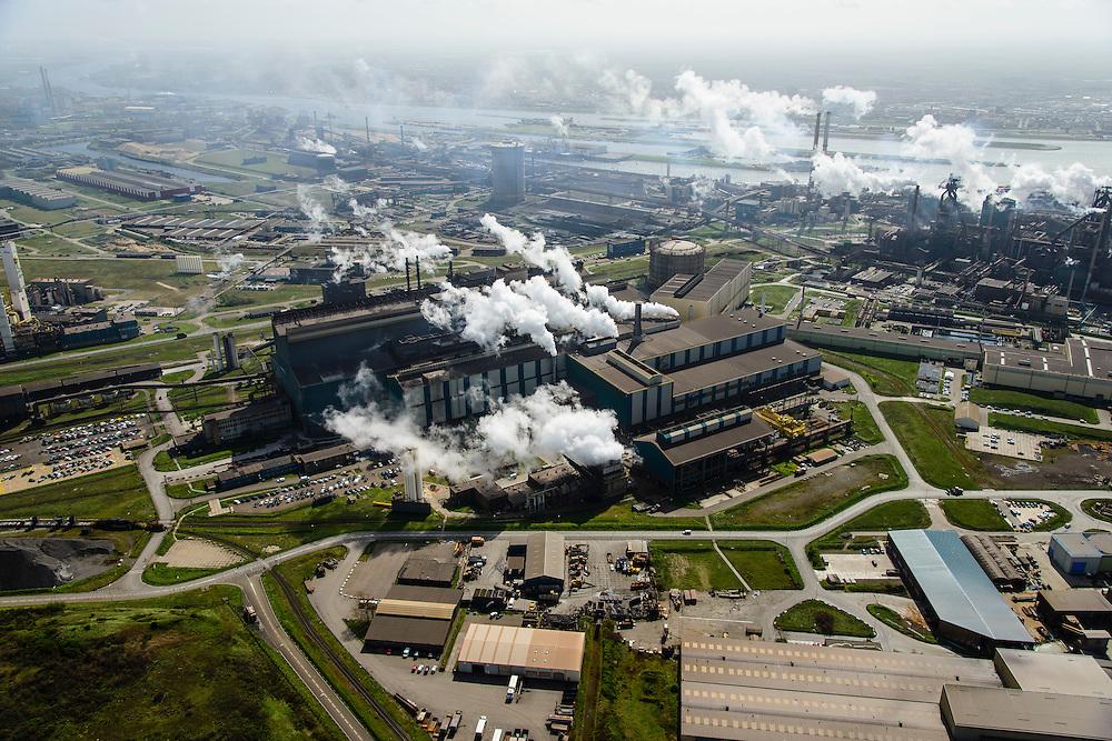 Nederland, Noord-Holland, IJmuiden , 09-04-2014; IJmuiden Steel Works van Tata Steel. Oxystaalfabriek en walserijen. Hoogovens rechts. Oxystaalfabriek<br /> IJmuiden Steel Works, part of Tata Steel. <br /> luchtfoto (toeslag op standard tarieven);<br /> aerial photo (additional fee required);<br /> copyright foto/photo Siebe Swart