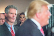 Ivanka Trump listens in the background as her father, the republican Presidential candidate Donald J. Trump hosts a press conference in Milford, NH, where he announced the endorsement from former Massachussetts Senator Scott Brown (left).