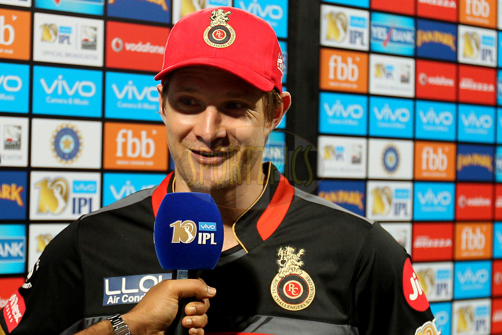 Shane Watson captain of Royal Challengers Bangalore interviewed during post match presentation of  match 5 of the Vivo 2017 Indian Premier League between the Royal Challengers Bangalore and the Delhi Daredevils held at the M.Chinnaswamy Stadium in Bangalore, India on the 8th April 2017Photo by Prashant Bhoot - IPL - Sportzpics