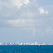 View of Cancun hotel zone from the sea.Cancun, Q.Roo..Mexico