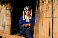 Burma/Myanmar. Woman from Akha tribe.