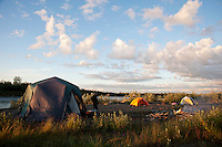 Camp at Sunset..shot on the Kanektok River, Alaska, USA..