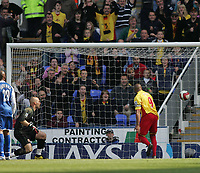 Photo: Lee Earle.<br /> Reading v Watford. The Barclays Premiership. 05/05/2007.Reading keeper Marcus Hahnemann (L) can only watch on as Watford's Marlon King heads home their second goal.