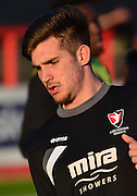 Cheltenham Town's Zack Kotwica warms up during the Sky Bet League 2 match between Cheltenham Town and Cambridge United at Whaddon Road, Cheltenham, England on 14 April 2015. Photo by Alan Franklin.