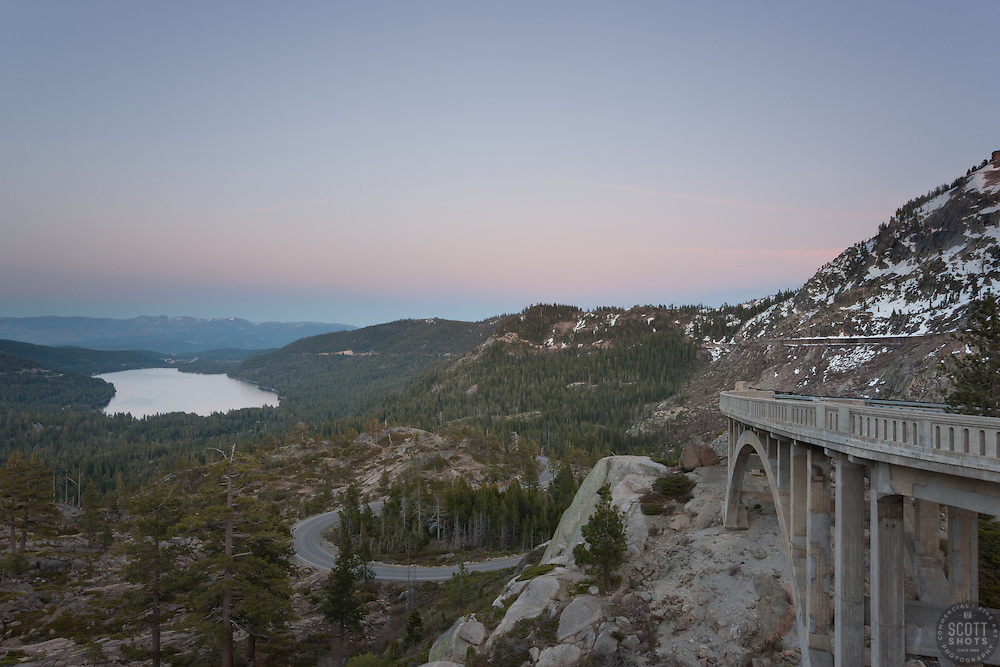 """Alpenglow at Donner Lake 3"" -  Photograph of an alpenglow sunset at Rainbow Bridge above Donner Lake, California."