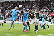 Luke Varney and Chris Hussey near post header from a corner is just off target during the EFL Sky Bet League 2 match between Plymouth Argyle and Cheltenham Town at Home Park, Plymouth, England on 21 September 2019.