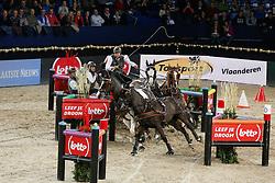 De Ronde Koos (NED) - Charley, Palero, Tommy, Mario<br /> FEI World Cup For In Hand Driving<br /> Vlaanderens Kerst Jumping Mechelen 2013<br /> © Hippo Foto - Dirk Caremans