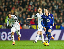 SWANSEA, WALES - Sunday, December 22, 2013: Everton's Ross Barkley in action against Swansea City during the Premiership match at the Liberty Stadium. (Pic by David Rawcliffe/Propaganda)