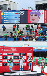08.02.2013, Planai, Schladming, AUT, FIS Weltmeisterschaften Ski Alpin, Super Kombination, Slalom, Siegerpraesentation, im Bild ina Maze (SLO, 2. Platz), Maria Hoefl-Riesch (GER, 1. Platz), Nicole Hosp (AUT, 3. Platz) // 2nd place Tina Maze of Slovenia, 1st place Maria Hoefl-Riesch of Germany, 3rd place Nicole Hosp of Austria on Winners Presentation after Ladies Super Combined Slalom at the FIS Ski World Championships 2013 at the Planai Course, Schladming, Austria on 2013/02/08. EXPA Pictures © 2013, PhotoCredit: EXPA/ Sammy Minkoff
