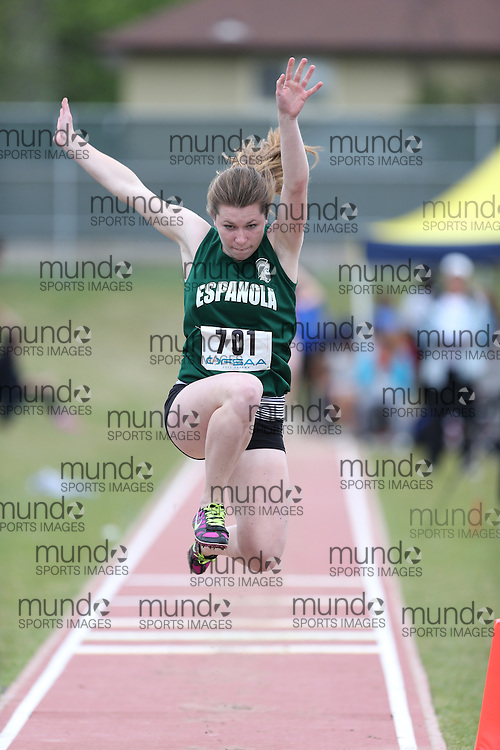 Maya Kitler of Espanola HS - Espanola competes in the junior girls long jump at the 2013 OFSAA Track and Field Championship in Oshawa Ontario, Thursday,  June 6, 2013.<br /> Mundo Sport Images / Sean Burges