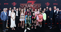 SANTA MONICA, LOS ANGELES, CALIFORNIA, USA - JUNE 28: World Premiere Of Netflix's 'Stranger Things' Season 3 held at Santa Monica High School on June 28, 2019 in Santa Monica, Los Angeles, California, United States. 28 Jun 2019 Pictured: Charlie Heaton, Maya Hawke, Natalia Dyer, Matt Duffer, Ross Duffer, The Duffer Brothers, Gaten Matarazzo, Caleb McLaughlin, Winona Ryder, Millie Bobby Brown, Sadie Sink, Joe Keery, Finn Wolfhard, Noah Schnapp, David Harbour, Cary Elwes, Jake Busey, Ted Sarandos. Photo credit: Xavier Collin/Image Press Agency/MEGA TheMegaAgency.com +1 888 505 6342
