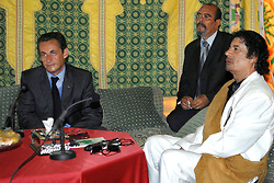 File photo - Lybia's President Colonel Moammar Abu Minyar Gadhafi welcomes french president Nicolas Sarkozy at the 'Bab Azizia' Palace, in Tripoli, Libya, on July 25. Former French President Nicolas Sarkozy was in police custody on Tuesday morning March 20, 2018, an official in the country's judiciary said. He was to be questioned as part of an investigation into suspected irregularities over his election campaign financing, the same source added. The probe related to alleged Libyan funding for Sarkozy's 2007 campaign, Le Monde newspaper reported. Photo by Christophe Guibbaud/ABACAPRESS.COM