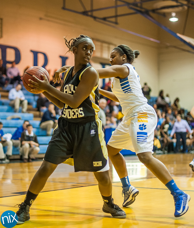 Monday night at Mount Pleasant High School. The Lady Spiders won the game 49-31.