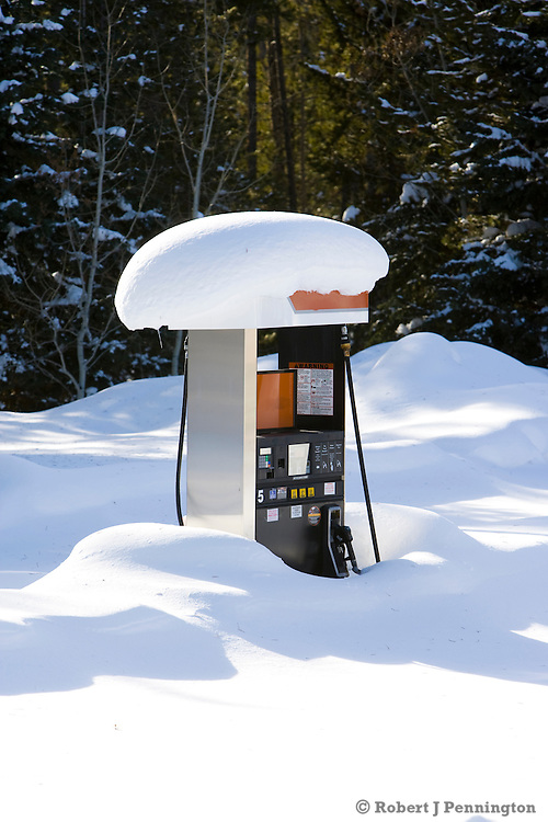Dormant for winter, a gasoline pump waits for warmer weather, near Yellowstone National Park in Wyoming.