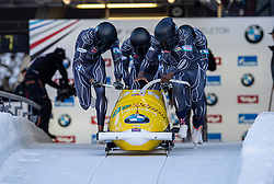 19.01.2020, Olympia Eiskanal, Innsbruck, AUT, BMW IBSF Weltcup Bob und Skeleton, Igls, Bob Viersitzer, Herren 2. Lauf, im Bild Pilot Deen Lamin mit Simons Ben, Letts Ryan, Butterworth Oliver (GBR) // Pilot Deen Lamin with Simons Ben / Letts Ryan / Butterworth Oliver of Great Britain during their 2nd run of four-man Bobsleigh competition of BMW IBSF World Cup at the Olympia Eiskanal in Innsbruck, Austria on 2020/01/19. EXPA Pictures © 2020, PhotoCredit: EXPA/ Peter Rinderer