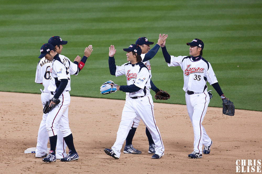 22 March 2009: Team Japan celebrates after beating Team USA during the 2009 World Baseball Classic semifinal game at Dodger Stadium in Los Angeles, California, USA. Japan wins 9-4 over Team USA.