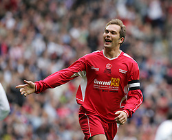 LIVERPOOL, ENGLAND - SUNDAY MARCH 27th 2005: Liverpool Legends' Jason McAteer celebrates opening the scoring against Celebrity XI during the Tsunami Soccer Aid match at Anfield. (Pic by David Rawcliffe/Propaganda)