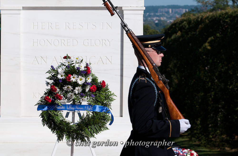 "An sentinel with United States Army's 3rd Infantry Regiment Honor Guard or ""Old Guard"" walks his post at the Tomb of he Unknown Soldier in Arlington National Cemetery in Arlington, VA on Saturday on Saturday, September 27, 2014.  © www.chetgordon.com"