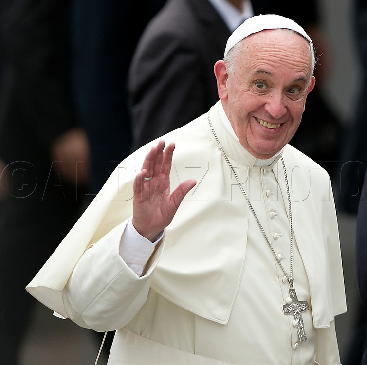 Pope Francis arrives at the Jose Marti International Airport in Havana, Cuba on Saturday, September 19, 2015.