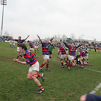 St.Munchins team celebrating after defeating PBC in the  Munster Schools Senior Cup Final<br />Played in Thomand Park Limerick.<br />Pic.Brian Gavin/Press 22